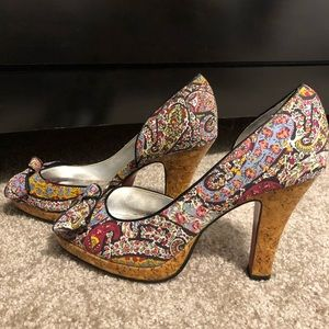 Unlisted by Kenneth Cole Paisley pattern peep toe